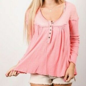 FREE PEOPLE Down Under pink henley shirt